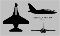 Aermacchi MB-346 three-view silhouette.png