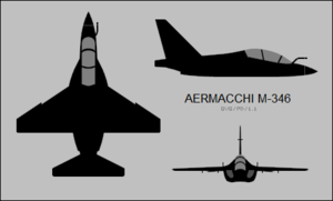 Orthographic projection of the Alenia Aermacchi M-346 Master