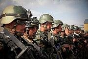 Afghan commandos in line