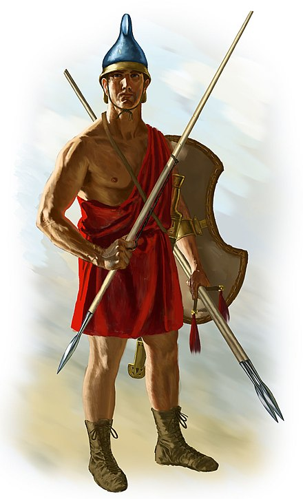 Agrianian peltast. This peltast holds three javelins, one in his throwing hand and two in his pelte hand as additional ammunition Agrianian3.jpg
