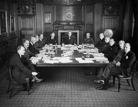 Air Council in session at the Air Ministry in July 1940. Air Council in session WWII IWM CH 966.jpg