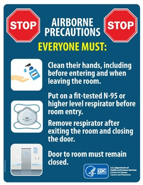 "A red poster with illustrations and the text: ""AIRBORNE PRECAUTIONS. EVERYONE MUST: Clean their hands, including before entering and when leaving the room. Put on a fit-tested N-95 or higher level respirator before room entry. Remove respirator after exiting the room and closing the door. Door to room must remain closed."""
