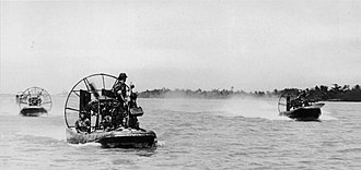 5th Special Forces Group (United States) - 5th Special Forces Company D Hurricane Aircat airboats on the Mekong near the Cambodian border in 1966