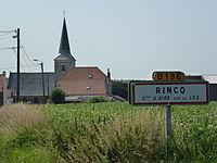 Aire-sur-la-Lys (Pas-de-Calais, Fr) church and city limit sign Rincq.JPG