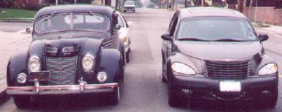 1937 Chrysler Airflow (left), 2002 Chrysler PT Cruiser