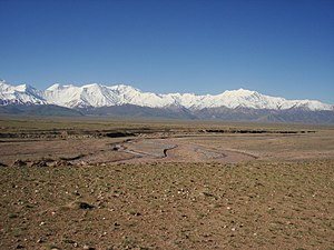 Alay Valley - A view of Alay Valley, Trans-Alay Range, and Kyzyl-Suu (West) River
