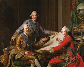 Gustav III of Sweden - King Gustav III of Sweden and his Brothers; Gustav III (left) and his two brothers, Prince Frederick Adolf and Prince Charles, later Charles XIII of Sweden. Painting by Alexander Roslin.