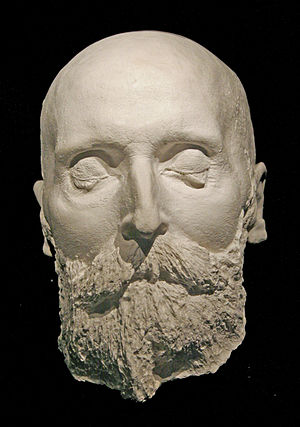 English: Death mask of Alfred Nobel Deutsch: T...