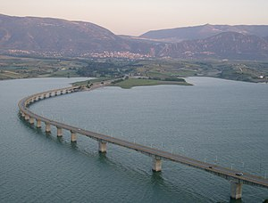 Haliacmon - The bridge (1352 m.) over the artificial lake Polyfytos of the river Aliakmonas near Servia.
