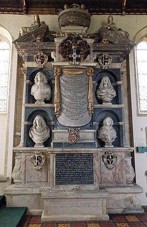 Verney family - Memorial to the Verney family, in the church next to Claydon House