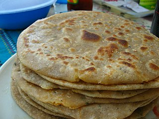 Paratha flatbread originating in the Indian subcontinent