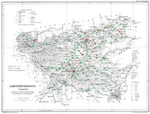 Alsó-Fehér County - Ethnic map of the county with data of the 1910 census (see the key in the description)