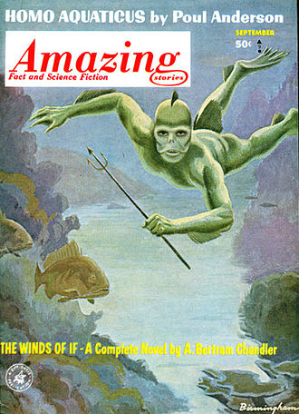 """Kith (Poul Anderson) - Anderson's """"Homo Aquaticus"""", part of his """"Kith"""" sequence, took the cover of the September 1963 issue of Amazing Stories"""
