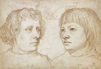 Hans Holbein the Younger - Hans (right) and Ambrosius Holbein, by Hans Holbein the Elder, 1511. Silverpoint on white-coated paper, Berlin State Museums