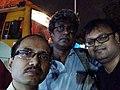 Amitabha Gupta, Rangan Datta and Sumit Surai at Esplanade bus station.jpg