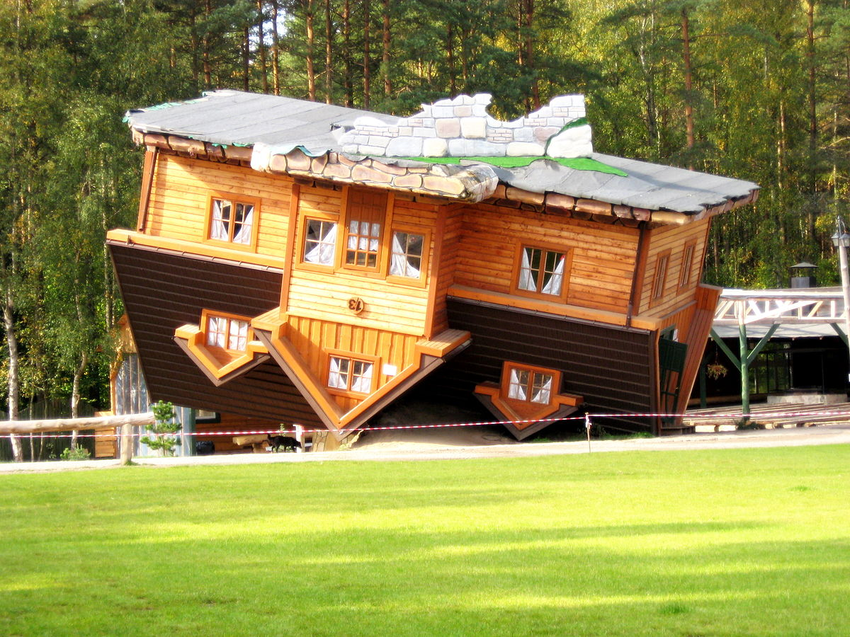 An 'upside-down house' in open-air museum, Szybmark, Poland..jpg