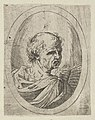 An apostle seen from behind and turning to the right, holding an open book, in an oval frame, from Christ, the Virgin, and Thirteen Apostles MET DP837897.jpg