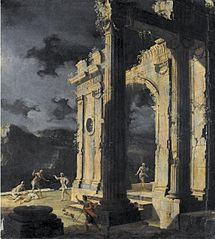 An architectural capriccio with figures amongst ruins under a stormy night sky