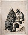 An old man sits asleep with his hands clasped while an old l Wellcome V0038877.jpg