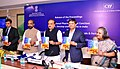 Ananthkumar releasing the Proceedings of the 12th National Pharmaceuticals Conclave, in New Delhi. The Minister of State for Chemicals & Fertilizers, Shri Hansraj Gangaram Ahir and other dignitaries are also seen.jpg