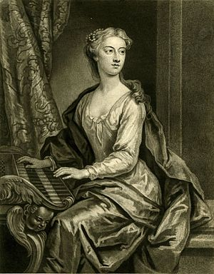 Anastasia Robinson - Anastasia Robinson seated at the harpsichord, proof for 1727 mezzotint by John Faber the Youngerafter 1723 painting by John Vanderbank, British Museum