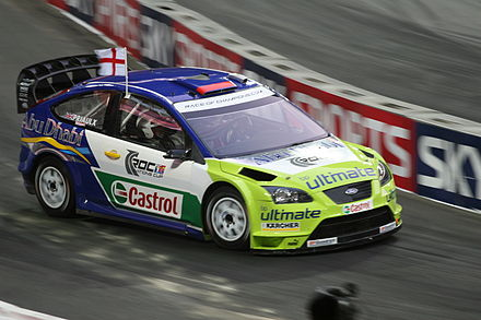 Andy Priaulx driving a Ford Focus RS WRC 07 at the 2007 Race of Champions. Andy Priaulx - 2007 Race of Champions 2.jpg