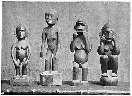 Bulul statues serve as avatars of rice deities in the Anitist beliefs of the Ifugao in the Philippines. Anitos of Northern tribes (c. 1900, Philippines).jpg
