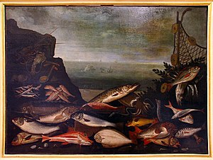 Poggio a Caiano - Painting of fish by Antonio Tanari, c. 1610–1630, in the Medici Villa.