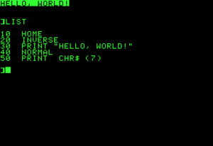 Applesoft BASIC - Hello World, with inverse video and bell character, run then listed