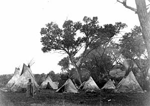 Cheyenne and Arapaho Tribes - Arapaho camp, 1868