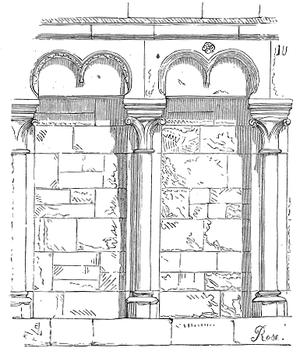 Montier-en-Der Abbey - Carolingian Blind arcading in the abbey church, from Viollet-le-Duc, 1856.