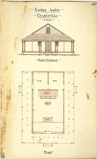 Charleville, Queensland - Architectural drawing of the court house, 1885