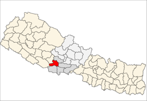 Arghakhanchi District i Lumbini Zone (grå) i Western Development Region (grå + lysegrå)