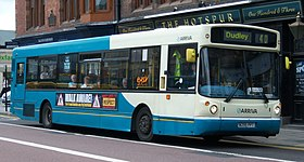 Arriva bus 4519 Volvo B10BLE Alexander ALX300 W295 PPT in Newcastle 9 May 2009 pic 2.jpg