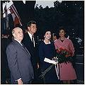Arrival ceremonies for the President of Peru. President Don Manuel Prado, President Kennedy, Mrs. Prado, Mrs. Kennedy.JPG