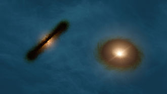 Double star - Artist's impression of the discs around the young stars HK Tauri A and B.