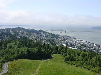 Much of the filming was done on location in Astoria, Oregon, the setting of the film. Astoria-Megler.JPG