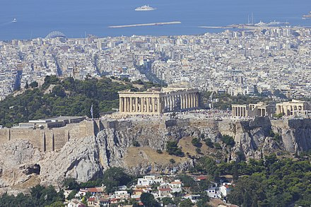 The Acropolis of Athens with the Mediterranean Sea in the background Attica 06-13 Athens 36 View from Lycabettus.jpg