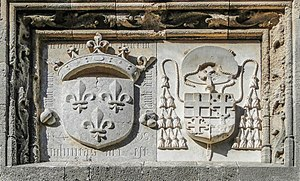Langue (Knights Hospitaller) - Coat of arms of the Langue of France (left) and of Grand Master Pierre d'Aubusson (right) on the French auberge in Rhodes