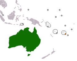 Map indicating locations of Australia and Fiji