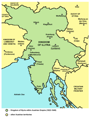 Kingdom of Illyria (1816–49) - Kingdom of Illyria within the Austrian Empire (1822-1849)