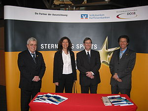 "Freiburger Turnerschaft von 1844 - Walter Hasper (Manager), Katharina Kalogerudi (Director of the socio-pedagogical institutions), Patrick T. Evers (Chairman) and Günther Giselbrecht (School Administrator) at the presentation ceremony of the ""Sterne des Sports"""