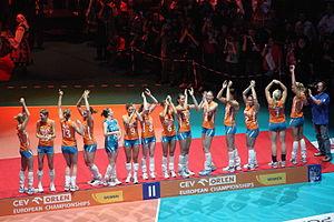 Netherlands women's national volleyball team - The Dutch team at the 2009 European Championship podium.