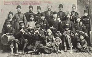 Azerbaijanis in Armenia - Tatars (i.e. Azerbaijani people) from Alexandropol. Postcard of the Russian Empire