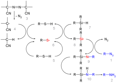 Azide Reduction By Triethylsilylhydride mechanism