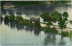 Lake Quinsigamond - Lake Quinsigamond causeway in 1908