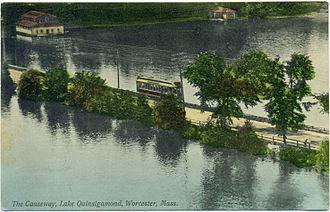 Lake Quinsigamond - Lake Quinsigamond causeway in 1908