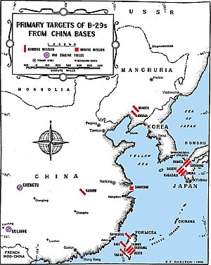 A black and white map of east Asia. Most of the cities depicted on the map are marked with bomb symbols.