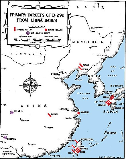 Locations of B-29 bomber bases in China and the main targets they attacked in East Asia during Operation Matterhorn B-29 targets from China.jpg