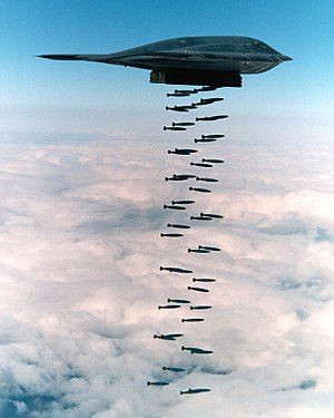 Live fire exercise - A B-2 Spirit dropping Mk.82 bombs in a 1994 training exercise off Pt. Mugu in the Pacific Ocean.